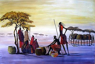 Obama Painting - The Masai Villagers by William Mutua