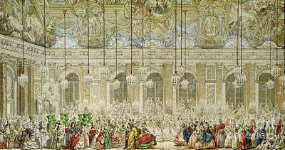 High Society Painting - The Masked Ball At The Galerie Des Glaces by Charles Nicolas Cochin II