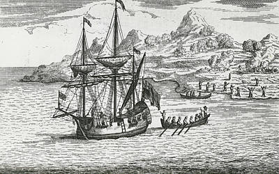 Sailboats Drawing - The Massacre And Burning The Two Villages At Madagascar by English School