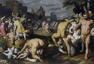 Painting - The Massacre Of The Innocents   Cornelis Cornelisz  Van Haarlem 1590 by R Muirhead Art