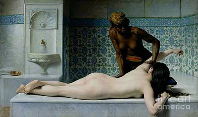 Orientalist Painting - The Massage by Edouard Debat-Ponsan