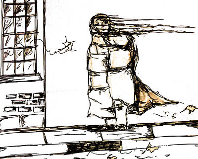 Sepia Ink Mixed Media - The Match Girl by Adrienne Talbot