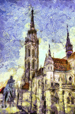 Mixed Media - The Mathias Church Budapest Art by David Pyatt