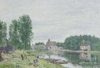 Moret Painting - The Matrat Boatyard, Moret-sur-loing, Rainy Weather, 1892  by Alfred Sisley