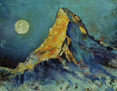 Snow-covered Landscape Painting - The Matterhorn by Michael Creese