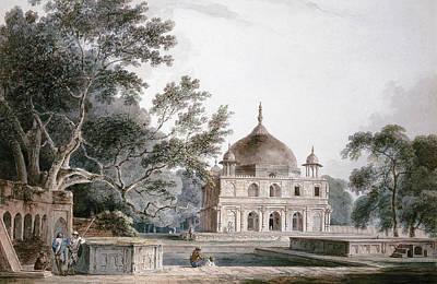 Historic Buildings Drawings Painting - The Mausoleum Of Prince Khusrau by Thomas and William Daniell