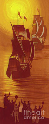 Painting - The Mayflower And The Speedwell Leave England In 1620 by Ron Embleton