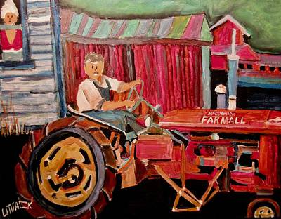 New Glasgow Painting - The Mayor On The Tractor New Glasgow by Michael Litvack