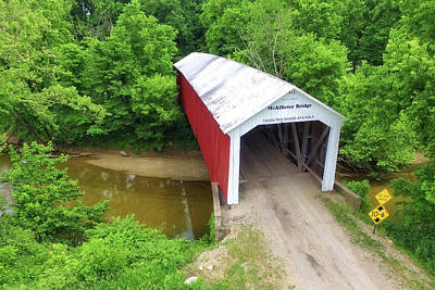 Photograph - The Mcallister Covered Bridge - Ariel View by Harold Rau