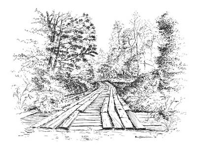 Drawing - The Mcneely Bridge by Randy Welborn