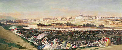 Fiesta Painting - The Meadow At San Isidro by Goya