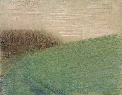 Georges Seurat Drawing - The Meadow by Georges Seurat