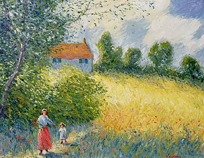 Corn Field Painting - The Meadow Path  by Richard Kretchmer