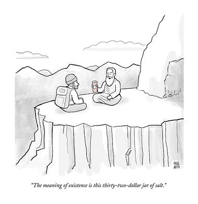Rip Off Drawing - The Meaning Of Existence Is This Jar Of Salt by Paul Noth