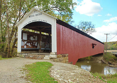 Photograph - The Mecca Covered Bridge by Harold Rau