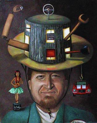 Shawn Painting - The Mechanic Part Of The Thinking Cap Series by Leah Saulnier The Painting Maniac