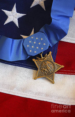 Photograph - The Medal Of Honor Rests On A Flag by Stocktrek Images