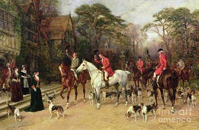 The Dog House Painting - The Meet At The Manor House by Heywood Hardy