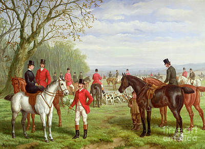 The Hunt Painting - The Meet by Edward Benjamin Herberte