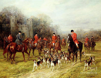 Hunting Dog Painting - The Meet by Heywood Hardy