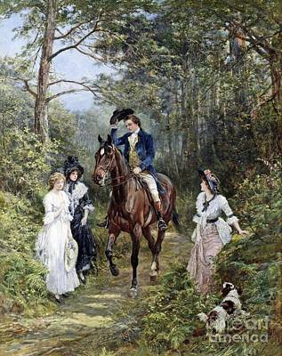 Horse In Forest Painting - The Meeting In The Forest  by MotionAge Designs