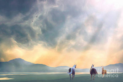 Pasture Digital Art - The Meeting by John Edwards