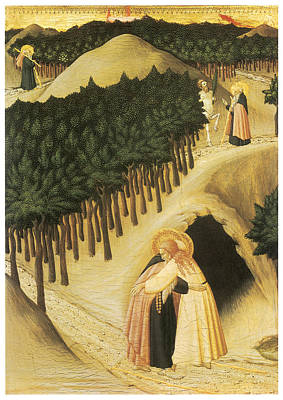 The Meeting Of St. Anthony And St. Paul Art Print by Sassetta