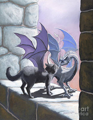 Fantasy Cats Painting - The Meeting by Stanley Morrison