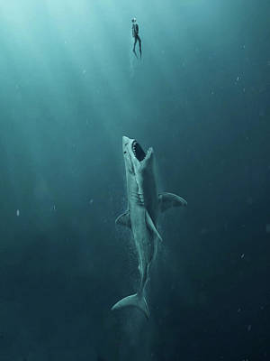 Hammerhead Shark Mixed Media - The Meg 5.0 by Movie Poster Prints