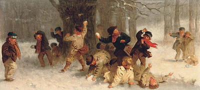 Winter Fun Painting - The Melee by John Morgan