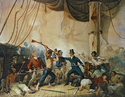 The Melee On Board The Chesapeake Art Print by Anonymous