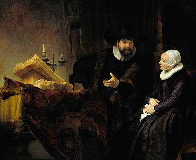 The Mennonite Preacher Anslo And His Wife Art Print by Rembrandt