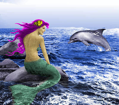 Digital Art - The Mermaid And The Dolphin by Yuichi Tanabe