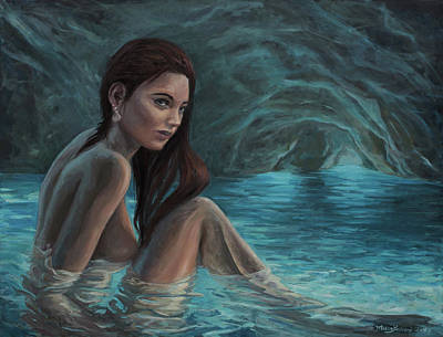 Painting - The Mermaid Of The Blue Cave - Love Is Danger by Marco Busoni