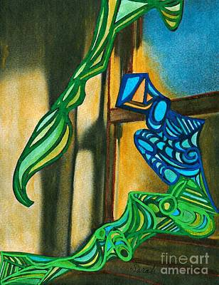 Mermaid Mixed Media - The Mermaid On The Window Sill by Sarah Loft