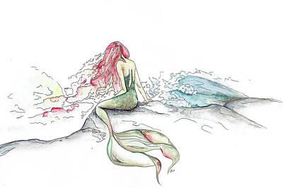 Gel Pen Painting - The Mermaid With Red Hair by Katrina Ryan