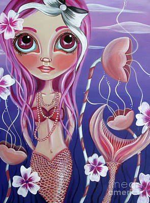 Flower Pink Fairy Child Painting - The Mermaid's Garden by Jaz Higgins