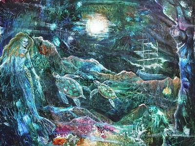 Sea Turtles Mixed Media - The Mermaid's Tale by Patricia Allingham Carlson