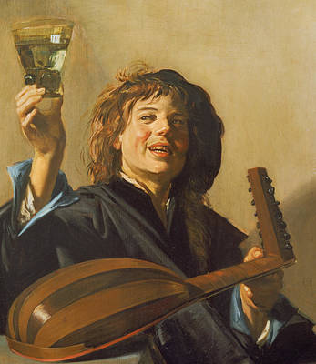 Raising Painting - The Merry Lute Player by Frans Hals