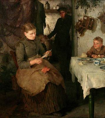 Print featuring the painting The Message by Henry Scott Tuke