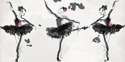 White Drawing - The Met Debut - Dancers In Black by Jodi Pedri