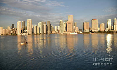 Photograph - The Miami Florida Skyline In The Early Morning As Seen From The Bay by Tom Wurl