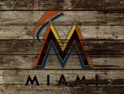 Brave Mixed Media - The Miami Marlins 1b by Brian Reaves
