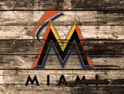 Brave Mixed Media - The Miami Marlins 1e by Brian Reaves