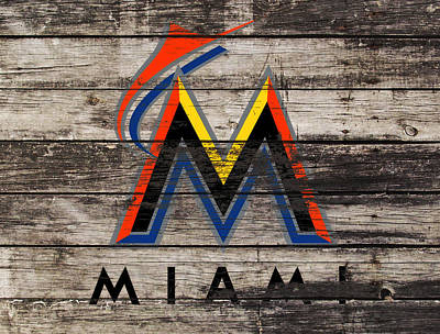 Astros Mixed Media - The Miami Marlins 1f by Brian Reaves