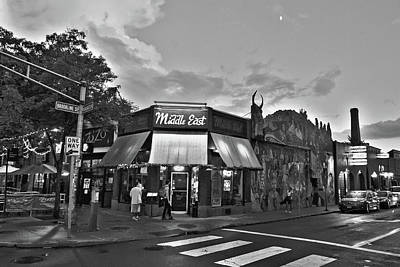 The Middle East In Central Square Cambridge Ma Black And White Art Print