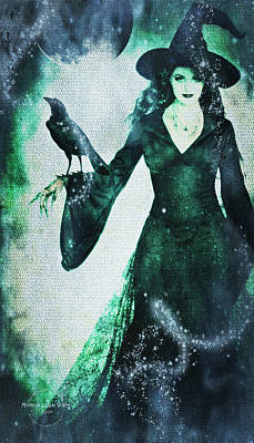 Digital Art - The Midnight Garden Witch by Absinthe Art By Michelle LeAnn Scott
