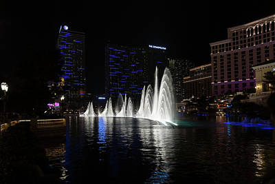 Photograph - The Midnight Show - Bellagio And Cosmopolitan Plus The Famous Fountains by Georgia Mizuleva
