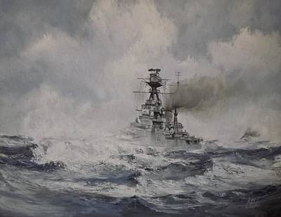 Hms Hood Painting - The Mighty Hood by Graham M'turfersee