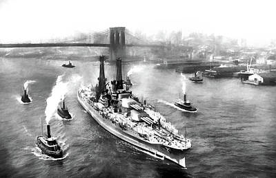 Battle Ship Photograph - The Mighty Pennsylvania Sailing From New York City by JC Findley